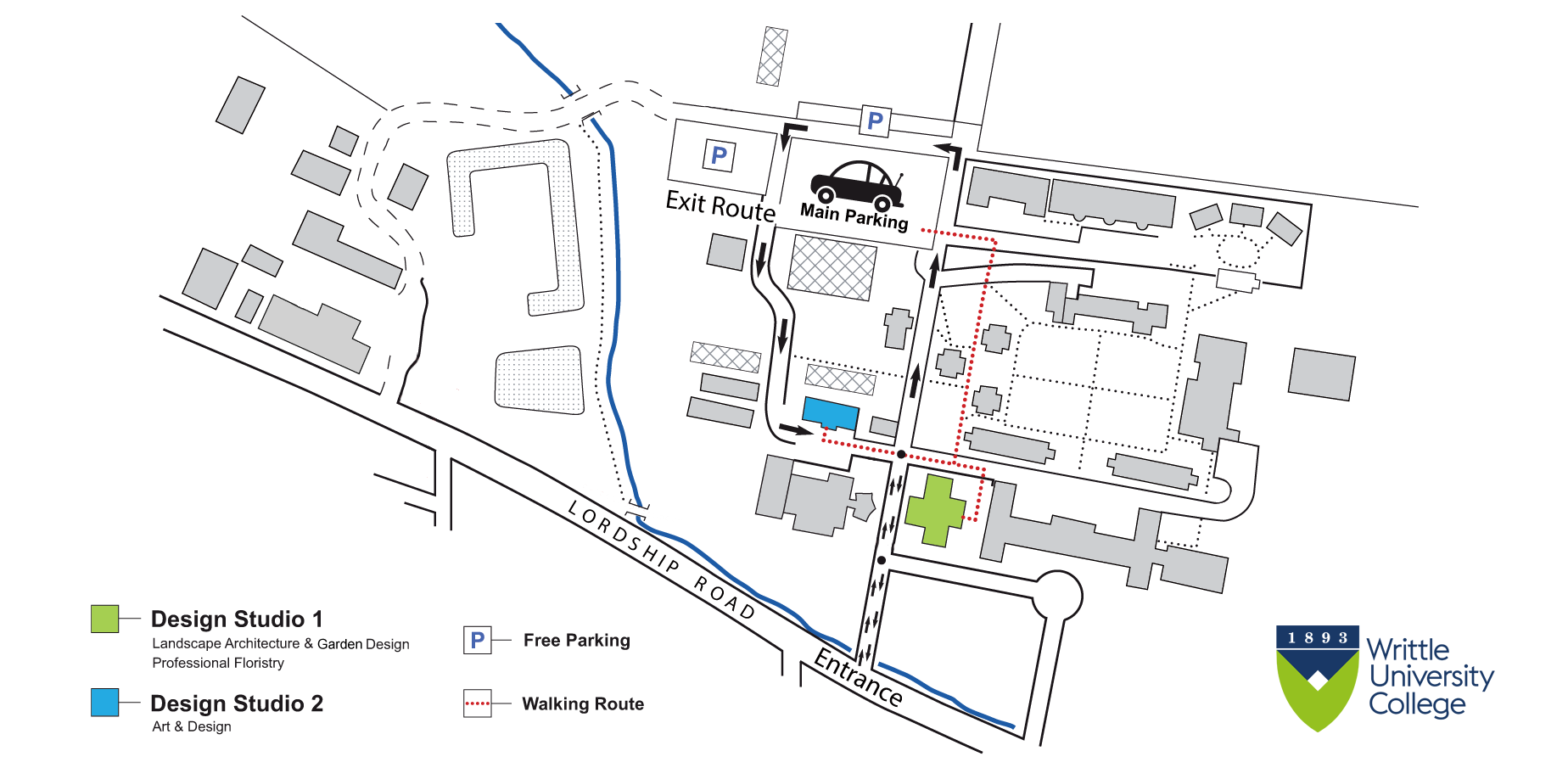 Writtle University College Campus map