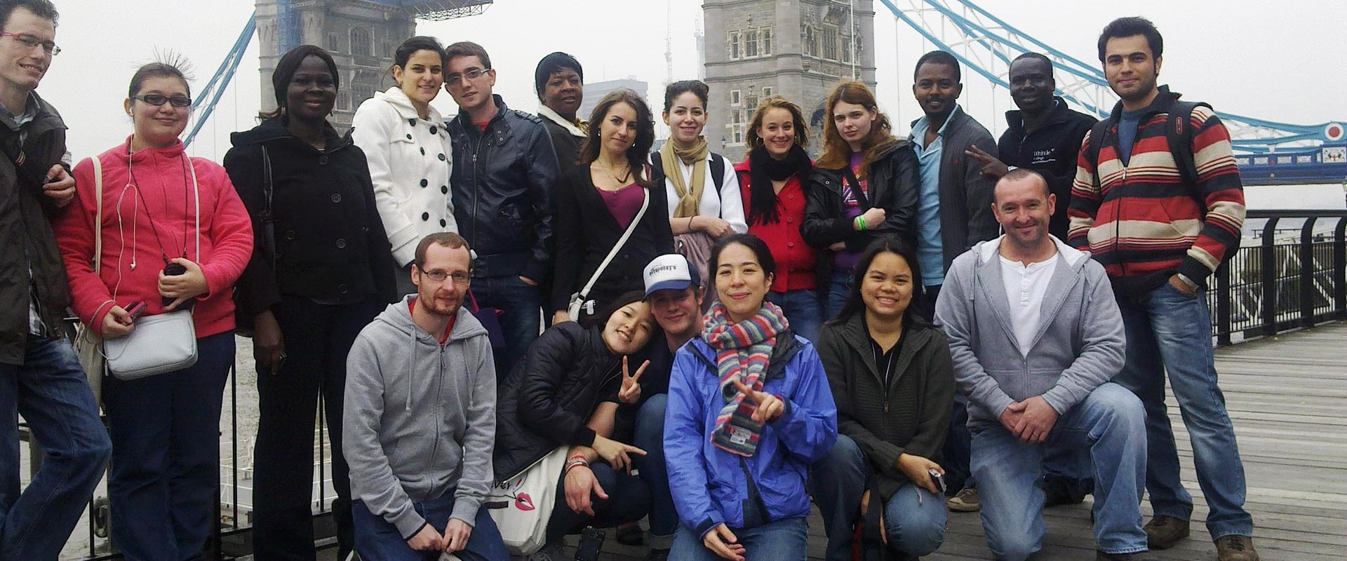 International students on a trip to Tower Bridge; London, October 2010